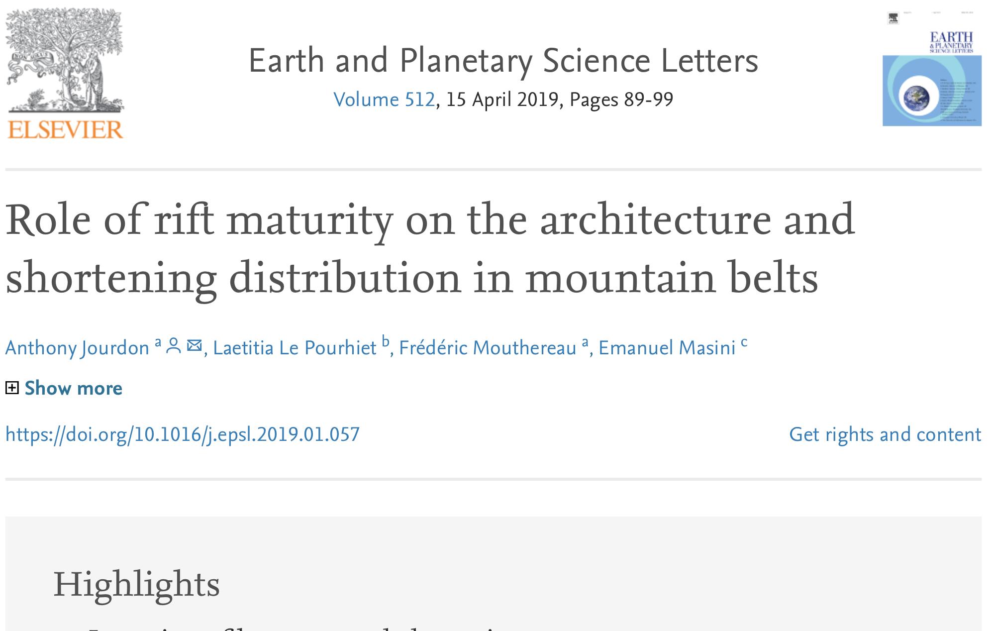 New EPSL paper of Jourdon et al.